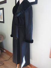 Charles Klein Pure Wool Black Faux Fur Trim Winter Coat Size 10