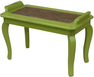 TRADE WINDS CHESAPEAKE BENCH TRADITIONAL ANTIQUE PAINTED APPLE GREEN MA