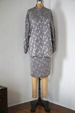 Geometric Patterned Grey Silk Blouse and Silk Skirt, Totokaelo