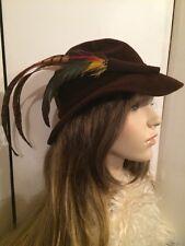 Vintage 40's LUCILA TENDERY Chocolate Brown Felt Ladies Hunting Hat w Feathers