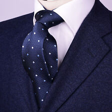 Navy Blue Geometric 8cm Tie Formal Business Necktie Diamond Studs Power Play B2B