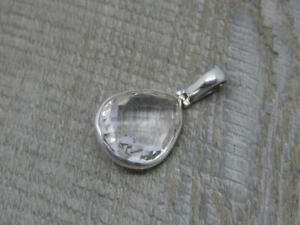 Beautiful Sterling 925 Silver Rock Crystal Quartz Tear Drop Pendant,4cm x 2.1cm