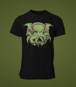 Cthulhu T-Shirt Mens HP Lovecraft octopus horror gothic squid horror creature