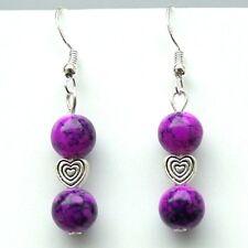Purple Glass Drop Earrings With Hearts & Sterling Silver Hooks New Drops LB1434