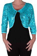Womens Sequin Chiffon Long Sleeve Tops Bolero Shrugs Crochet Cardigan Tops