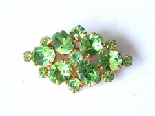 Vintage Bohemian Costume BROOCH w/ Faceted Green Glass Crystals, 1950s Fashion