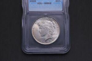 1922 $1 Peace Silver Dollar - ICG MS 66