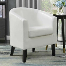 Modern Tub Chair Bonded Leather Armchair Occasional Accent Chairs Sofa Seat New