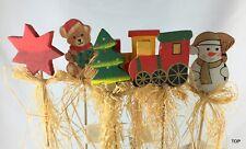 6er Set Figuren Holz auf Holzstab Weihnachten Deko Floristik