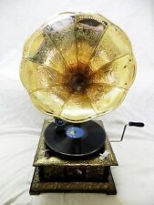 ANTIQUE GRAMOPHONE PHONOGRAPH BRASS CRAFTED MACHINE HORN SOUND BOX NEEDLE SET
