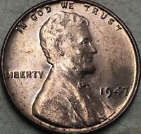 1947 -P Uncirculated Lincoln Cent Wheat Penny. Lincoln Copper Wheat Cent. UNC