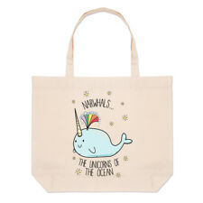 Narwhals The Unicorns Of The Ocean Large Beach Tote Bag - Funny Shopper Shoulder