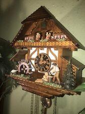 German Animated Woodsmen 8 Day Musical Cuckoo Clock Waterwheel / Dancers - Video
