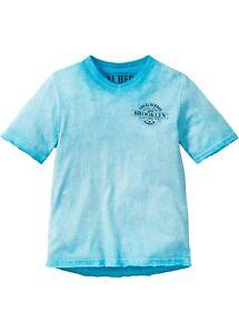T-Shirt mit Farbverlauf Größe 140/146 rauchgrau, limettengrün, blau