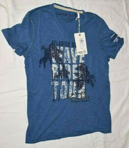 Camp David Men V neck shirt Wave Rider Wave Blue Size M New