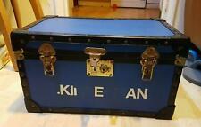 VINTAGE EARLY 1980s MOSSMAN SCHOOL STORAGE TRUNK CHENEY LOCKS BLUE Chest Box