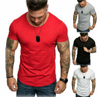 Men Gym Bodybuilding Muscle Tee Training Jogger Casual Fit O-Neck T-shirt Tops