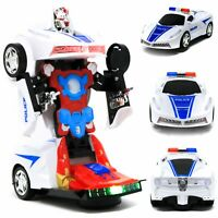 2-In-1 Robot Toy Police Car Transformer Robot With Lights And Sounds Kids Gift