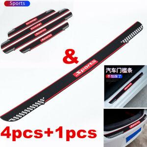 5pcs Car Rear Bumper Door Sill Protector Rubber Cover Guard Pad Moulding Trim