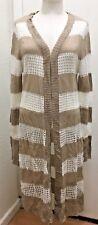 MUDD Womans Beige/White Stripe Acrylic Open Knit L Sleeve Cardigan Sweater Sz XL