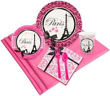 PARIS EIFFEL TOWER PARTY PACK 8 GUEST PLATES CUPS CUTLERY NAPKINS TABLE COVER IN