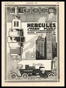 1920 Hercules Spark Plugs Eclipse Mfg Co. Indianapolis Indiana Vintage Print Ad