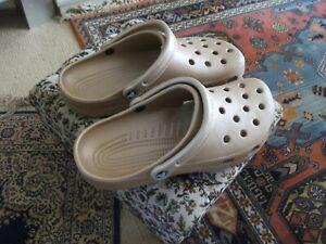 PAIR MENS Beige Crocs Size M 11  NEW