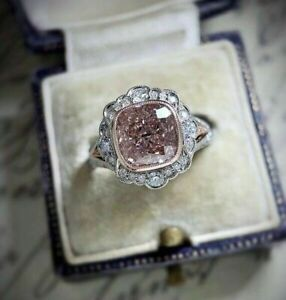 Exquisite 925 Silver Pink Sapphire Ring Marriage Eternal Jewelry Women Size 9