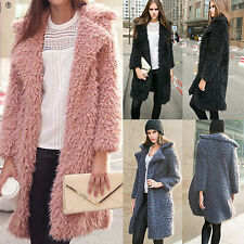 Women Winter Long Faux Fur Shaggy Cardigan Jacket Coat Parka Soft Warm Overcoat