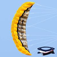 AU 2.5m Huge Parafoil Parachute Stunt Dual Line Sport Beach Kite Kids Gift Fly