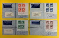 New Guinea, Scott #48-51, set of 4 Registered Airmail Covers with Imprint Blocks