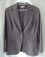Dress Barn Larry Levine Blazer Jacket Womens 10 Gray fitted career casual dress