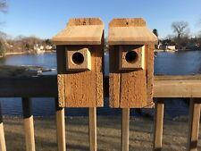 "2 Pack Cedar Bluebird Bird House 3/4"" Thick Cedar Birdhouse! W/ Predator Guard!"