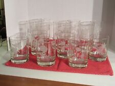 Vintage Set of 12 glasses- 6 Tall & 6 Short with Flowers Etched on Them
