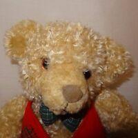 "Teddy Bear Christmas Red Vest Toy Plush Stuffed Animal 9"" Hallmark Cards Tan"