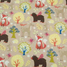 100% Cotton Kids Fabric Material ANIMAL FOX BUTTERFLY BEAR RABBIT 1/2 metre