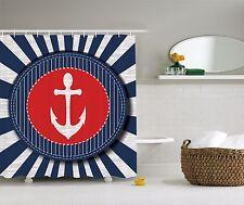 Blue White Red Nautical Beach Sailboat Anchor Fabric Shower Curtain