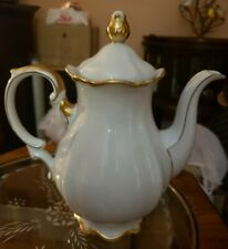 "Vintage Mitterteich Bavaria Golden Lark Porcelain Coffee Pot W/Lid~11"" tall"