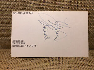 Vivian Blaine Signed Index Card Autographed 1973 Autographed Guys and Dolls