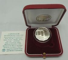 Israel 1985 Holy Land Sites Capernaum Proof Coin 1 Nis 14.4gr Silver +box +COA