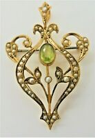 EDWARDIAN 9CT GOLD PERIDOT & PEARL PENDANT BROOCH. ANTIQUE NECKLACE H/MARK c1910