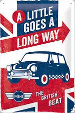 Nostalgic Art Mini Little Goes Long Way British Beat Kleiner Wagen 20x30 #