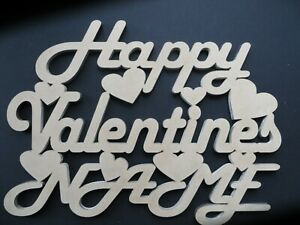 HAPPY VALENTINES (NAME) - Plaque Sign-Personalised -  MDF wood