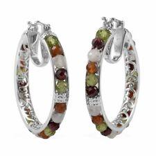 Platinum Plated Hoops Hoop Earrings Elegant Jewelry Gift for Women Ct 19.5