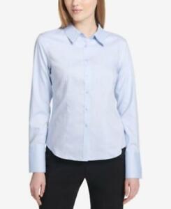 MSRP $60 Calvin Klein Button-Up Cotton Shirt Blue Size 4