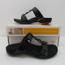 Orthaheel Albany T Strap Slide Sandals Black Size US 7