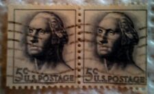 1962 U. S. Scott 1213 George Washington two used cancelled 5 cent stamps