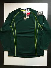Majestic MLB Oakland Athletics Long Sleeve Pullover Shirt Green Mens Size M
