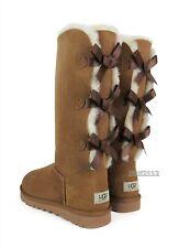 UGG Australia Bailey Bow Tall Triple Chestnut Fur Boots Womens Size 8 *NEW*