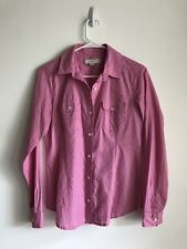 Ann Taylor Pink And Black Polka Dot Button Up XS